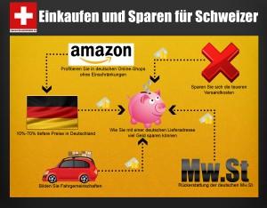 Infografik: Wie Sie auch aus der Schweiz vom gesamten Amazon Angebot profitieren können.